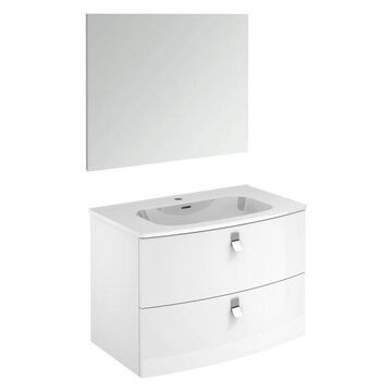 Rondo 80F Complete Vanity Unit, Gloss White, With Mirror