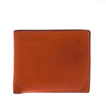 Hermes Orange Leather Bifold Wallet