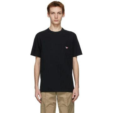 Maison Kitsune Black Tricolor Fox T-Shirt