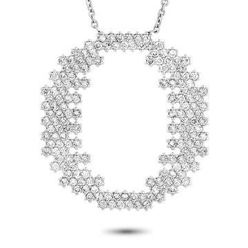 Roberto Coin White Gold and Diamond Pave Ellipse Pendant Necklace
