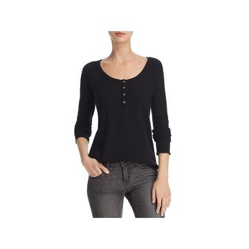 Chaser Womens Henley Top Ribbed Casual