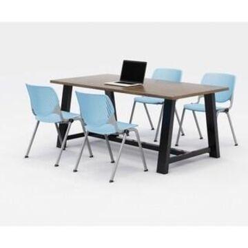 KFI Midtown Office Table Set, Studio Teak Top, 4 KOOL Chairs (Sky Blue Chairs)