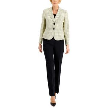 Le Suit Petite Two-Button Plaid Pantsuit