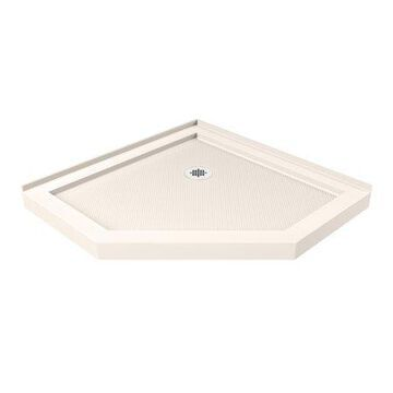 DreamLine SlimLine 36 in. D x 36 in. W x 2 3/4 in. H Corner Drain Neo-Angle Shower Base in Biscuit