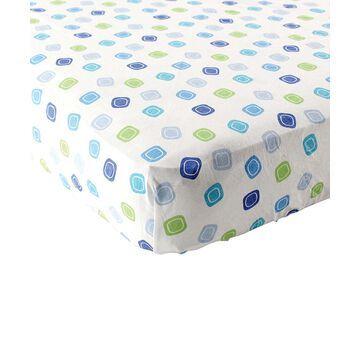 Luvable Friends Boys' Crib Sheets Blue - Blue Geometric Crib Sheet