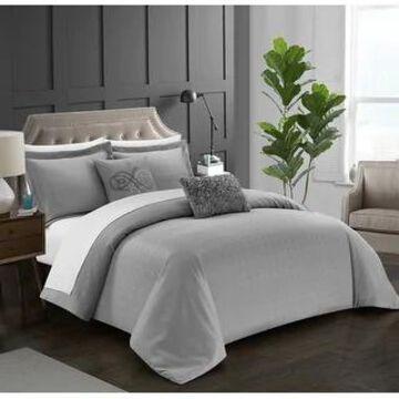 Chic Home Ellie 5 Piece Pleated Comforter Set (Grey - Queen)