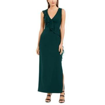 Connected Petite V-Neck Ruffled Gown