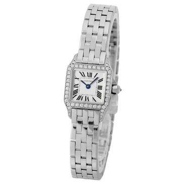 Cartier Women's WF9005Y8 'Santos' White Gold-Tone Stainless Steel Watch