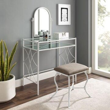 Mainstays Lattice Metal and Glass Vanity Set with Shelf and Upholstered Stool, White