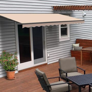 ALEKO Retractable 12 x 10 Feet Home Patio Canopy Awning Beige