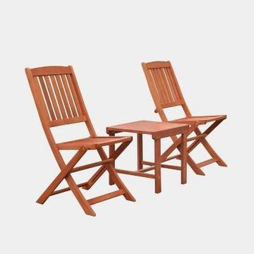 Malibu 3pc Wood Outdoor Patio Dining Set with Folding Chair - Tan - Vifah