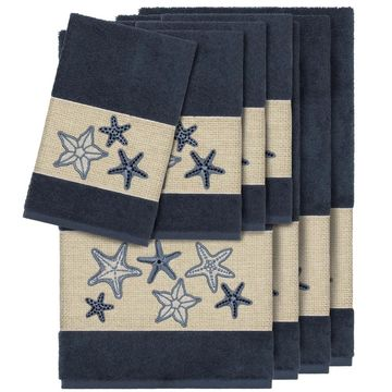 Authentic Hotel and Spa Midnight Blue Turkish Cotton Starfish Embroidered 8 piece Towel Set
