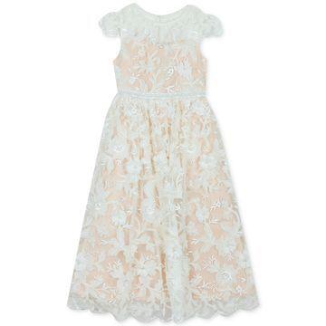 Big Girls Embroidered Illusion Dress
