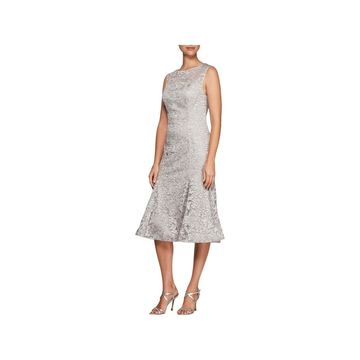 Alex Evenings Womens Midi Dress Embroidered Tulle