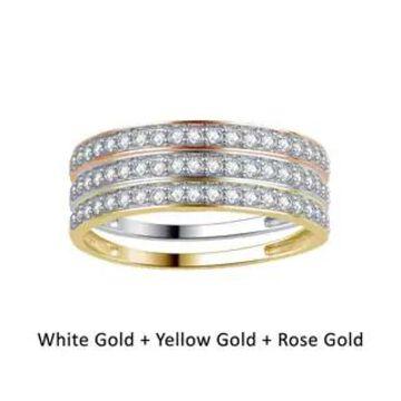 Divina 10KT Gold 5/8ct TDW Diamond 3-Piece Stackable Wedding Band Set
