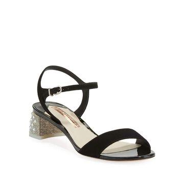 Amber Suede Mid-Heel Sandals