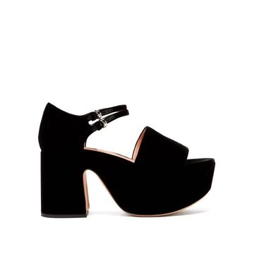 Rochas - Buckled Velvet Platform Sandals - Womens - Black