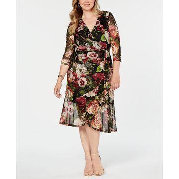 Plus Size Floral Mesh Wrap Midi Dress