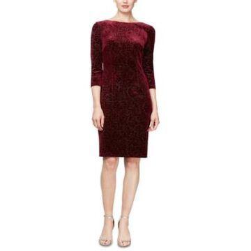 Sl Fashions Velvet-Burnout 3/4-Sleeve Sheath Dress