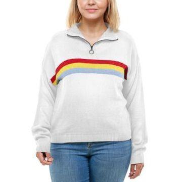 Derek Heart Trendy Plus Size Mock-Neck Rainbow-Stripe Sweater