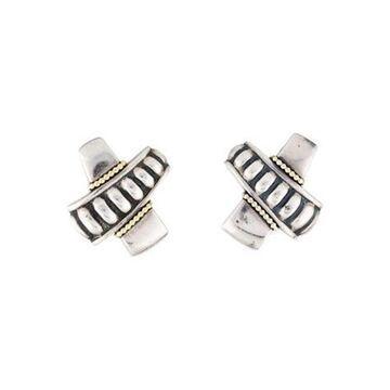 Two-Tone X Earclips silver