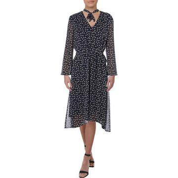 Anne Klein Womens Daytime LongSleeves Midi Dress