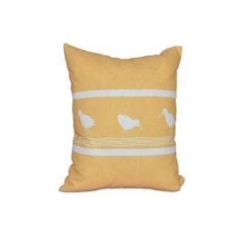 Birdwalk 16 Inch Yellow Decorative Coastal Throw Pillow