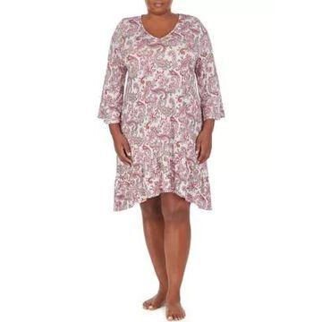 Ellen Tracy Women's Plus Short 3/4 Sleeve Paisley Nightgown - -
