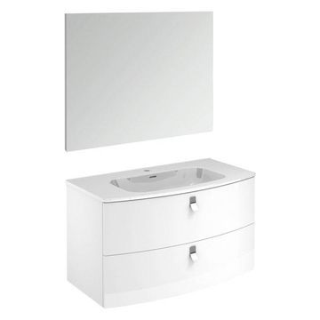 Rondo 100F Complete Vanity Unit, Gloss White, With Mirror