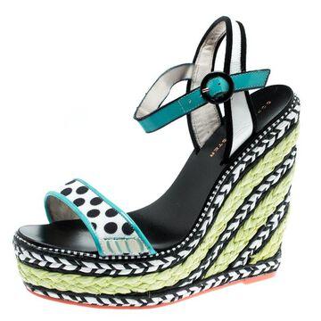 Sophia Webster Multicolor Polka Dot Canvas And Leather Lucita Espadrille Wedges Sandals Size 36.5