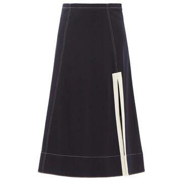 Jil Sander - Side-slit A-line Wool Midi Skirt - Womens - Navy
