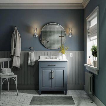 allen + roth Brookview 30-in Slate Blue Undermount Single Sink Bathroom Vanity with Carrara Engineered Marble Top   1789VA-30-310