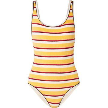 Solid & Striped - The Anne-marie Striped Cotton-blend Terry Swimsuit - Yellow
