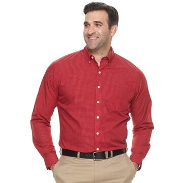 Big & Tall Van Heusen Classic-Fit Checked Wrinkle-Free Button-Down Shirt