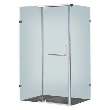 Aston Frameless Shower Enclosure, Stainless Steel, 48