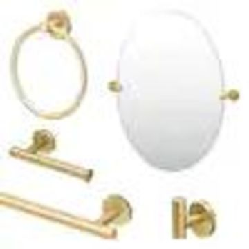 Gatco Gatco KA-LAT-5-BB Latitude2 5-Piece Bathroom Accessory Kit with Mirror, Brushed Brass