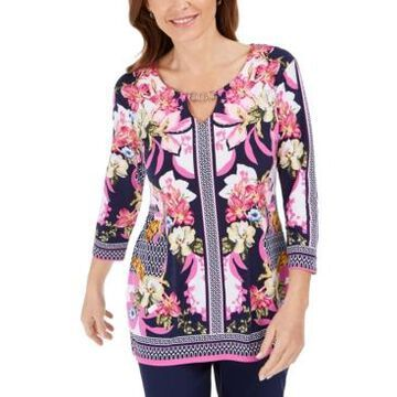 Jm Collection Embellished Keyhole Top, Created For Macy's