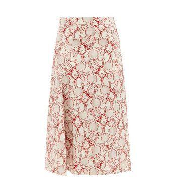 Jil Sander - Floral-jacquard Fil-coupe Midi Skirt - Womens - Red White
