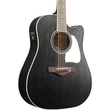 Artwood AW360CEWK Solid Top Dreadnought Acoustic-Electric Guitar Weathered Black