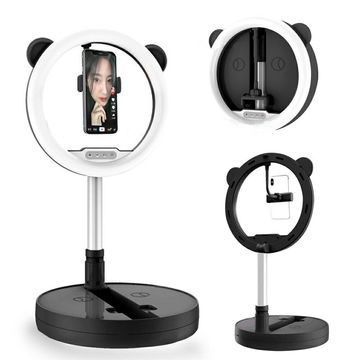 128-LED Studio 10-inch Ring Light/Lamp - Foldable Portable Design - MAX 5.4 Ft - Light & Temp Adjust