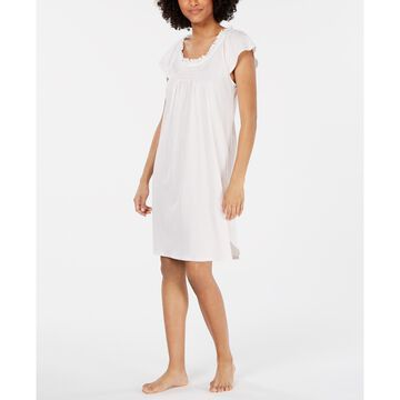 Ruffled-Neck Printed Knit Nightgown