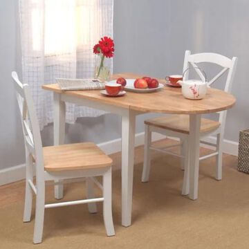 Simple Living Country Cottage Drop Leaf 3-piece Dining Set (White, Natural)