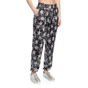 Foil Star-Print Pull-On Jogger Pants