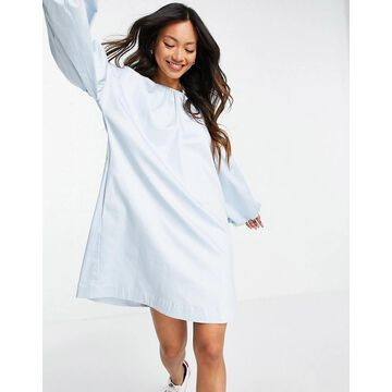 Y.A.S cotton smock dress with exaggerated balloon sleeve in blue-Blues