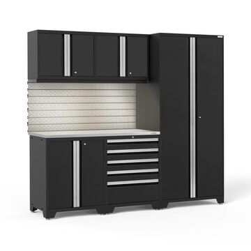 NewAge Products Pro Series 92-in W x 84.75-in H Black Steel Garage Storage System Stainless Steel | 64058