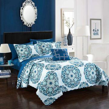 Chic Home 4-Piece Miranda Blue Quilt Set (Blue/White - King)