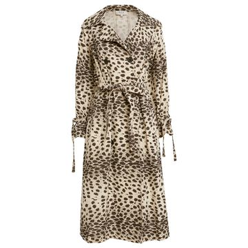 Leo Leopard Double Breasted Trench Coat