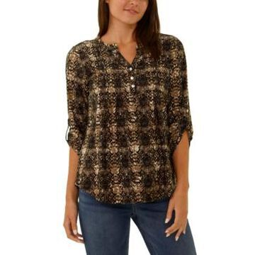 Ny Collection Petite 3/4-Sleeve Split Neck Top