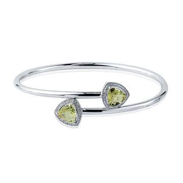 Auriya 2 3/4ct Trillion-Cut Lemon-Green Quartz Gold over Silver Bangle Bracelet with Diamond Accents (White)