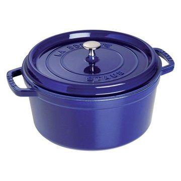 Staub Cast Iron 9-qt Round Cocotte - Dark Blue